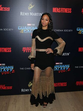 dress maxi dress zoe saldana see through see through dress
