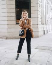 jeans,black jeans,cropped jeans,velvet,straight jeans,ankle boots,leather boots,coat,wool coat,crossbody bag,white t-shirt,belt
