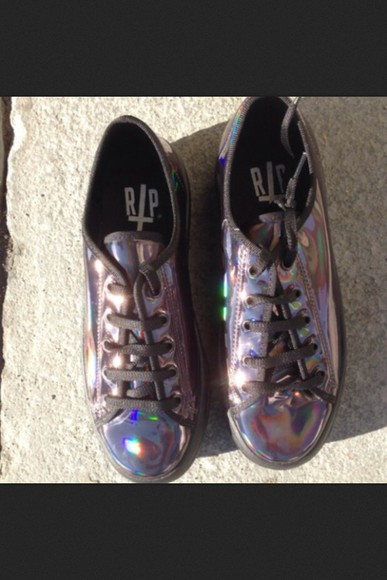 shoes black platforms grunge flatforms metallic holographic