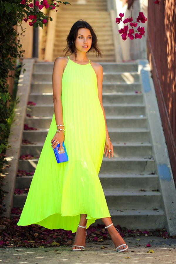 viva luxury bag shoes jewels dress neon gorgeous cute dress fashionista sexy cute clothes cool summer outfits edgy beautiful bright style neon green smoking yellow dress yellow slip dress slip dress maxi dress summer dress high heel sandals sandals white sandals clutch blue clutch bracelets blogger