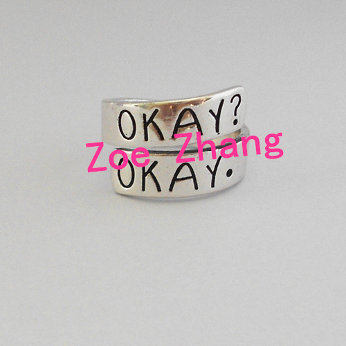 Free shipping Set of Two Okay RING Clouds Friendship Okay? Okay. ring F06-in Rings from Jewelry on Aliexpress.com