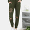 Distressed waist tie sweatpants olive -shein(sheinside)