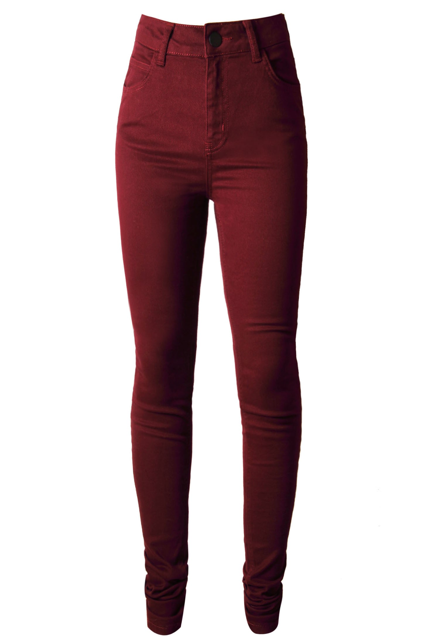 Burgundy High Waisted Skinny Jeans - Styligion.com