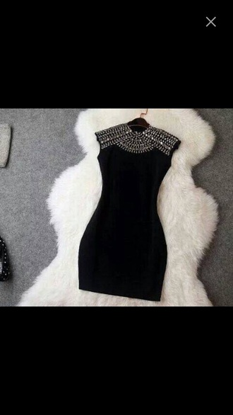 dress black pearls short dress