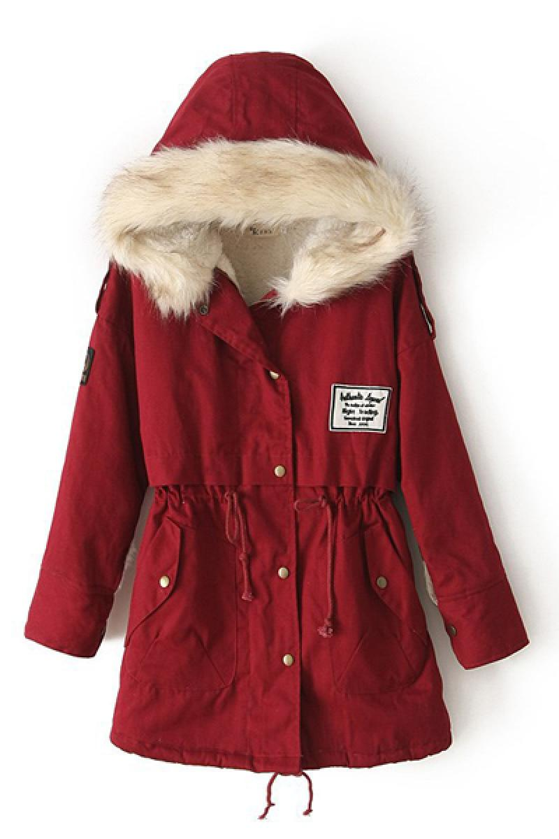 Winter Section New Raccoon Fur Collar Badge Army Coat Jacket,Cheap in Wendybox.com