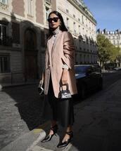 shoes,pumps,mid heel pumps,wide-leg pants,black pants,cropped pants,turtleneck,blazer,sunglasses,handbag,mini bag,earrings