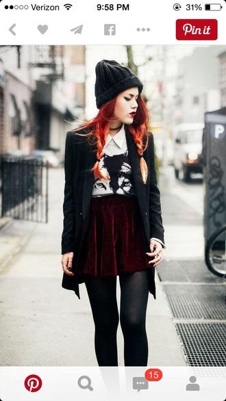 skirt velvet skirt velvet grunge red skirt skater skirt