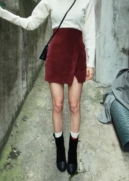 skirt burgundy velvet skirt high waisted skirt wrap skirts short skirt hipster asymmetrical skirt