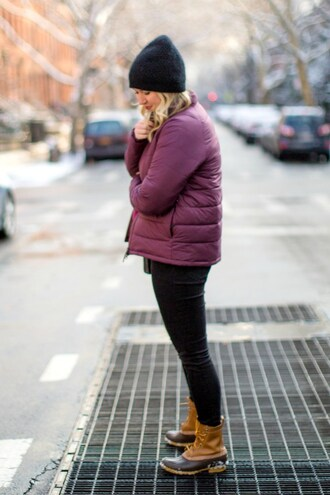 wit&whimsy blogger sweater jeans shoes scarf purple jacket beanie duck boots winter outfits