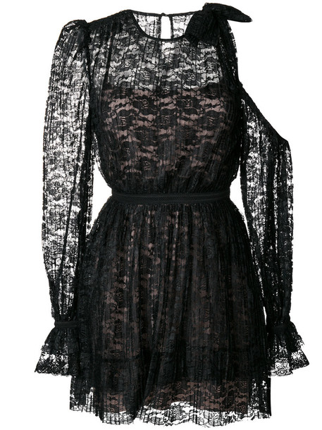Three Floor dress women cold lace black