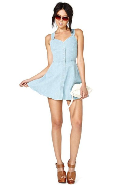 Dress: motel summer days denim dress, summer dress, denim dress ...