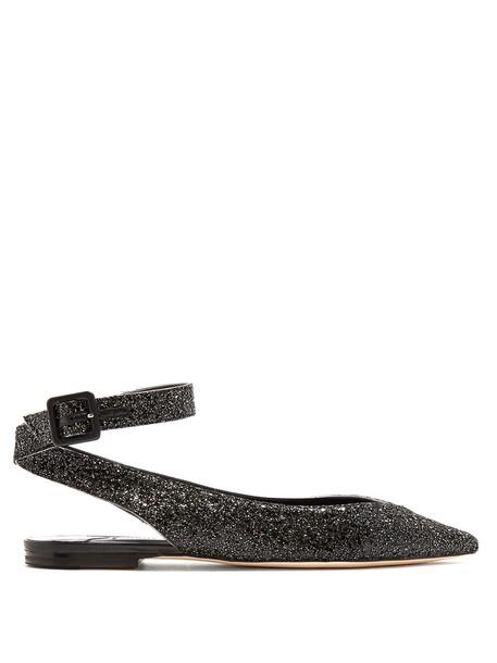 Jimmy Choo glitter flats black shoes