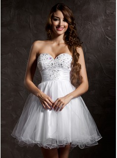Empire sweetheart short/mini tulle homecoming dress with beading sequins (022008941)