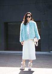 hallie daily,blogger,faux fur coat,aqua,coat,skirt,shoes,bag,shirt,sunglasses,jewels,fluffy,blue fluffy coat,midi skirt,white skirt