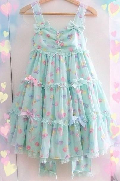 dress pastel dress kawaii dress cute dress pajamas kawaii japanese fashion harajuku blue dress pastel