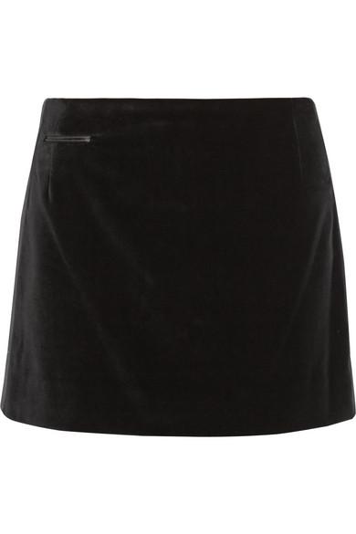 Trimmed velvet mini skirt