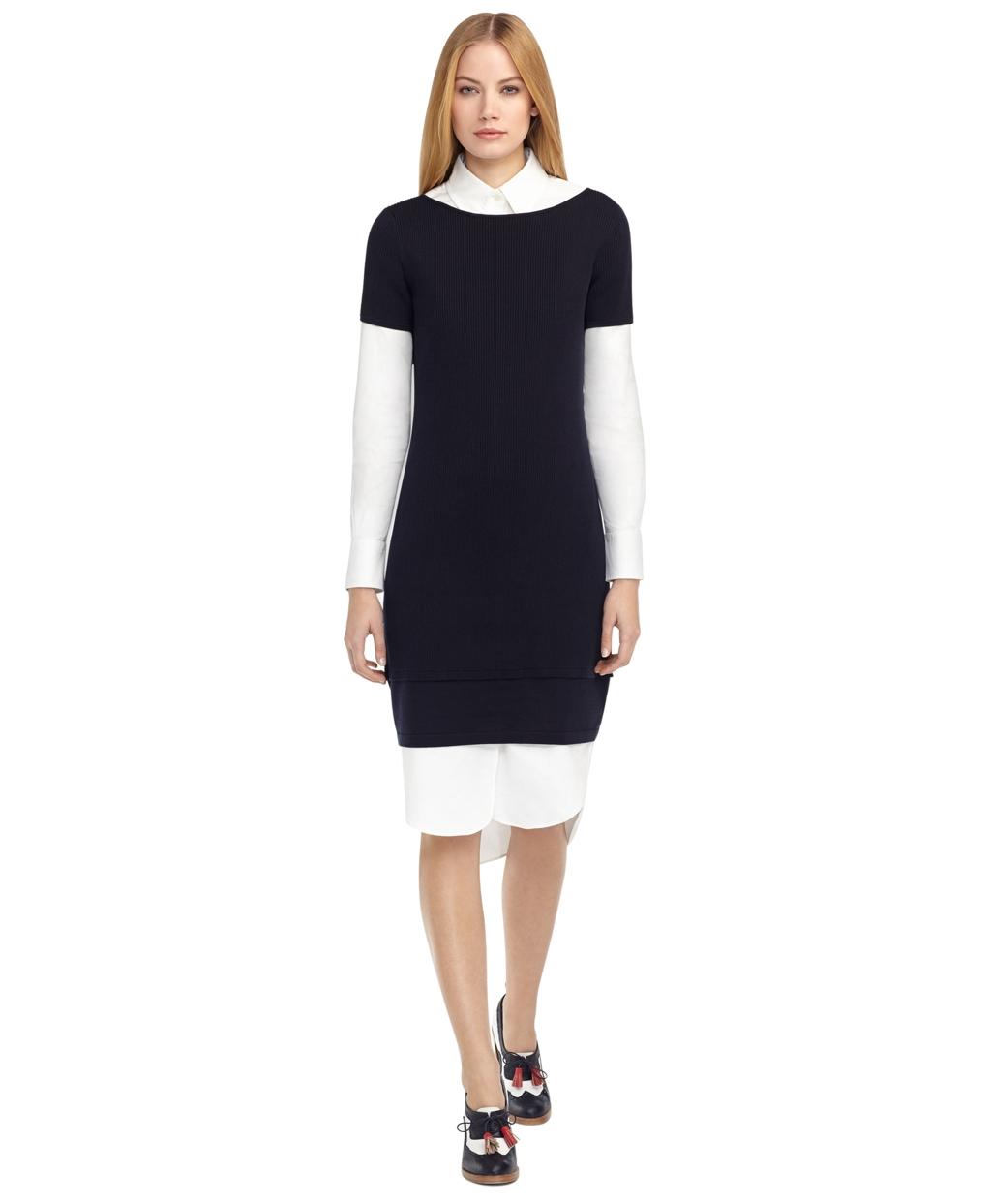 Women's Black Fleece Ribbed Dress