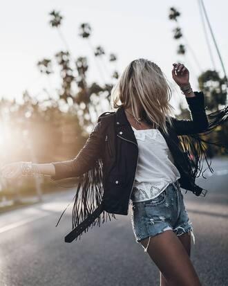 jacket tumblr shorts leather jacket black leather jacket fringed jacket fringes black jacket t-shirt white t-shirt denim denim shorts
