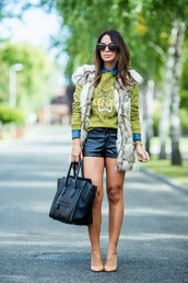 cashmere in style,jacket,shoes,sweater,shirt,shorts,bag,sunglasses,printed fur vest,printed sweater,leather shorts,black bag,kenzo,tortoise shell sunglasses,tortoise shell