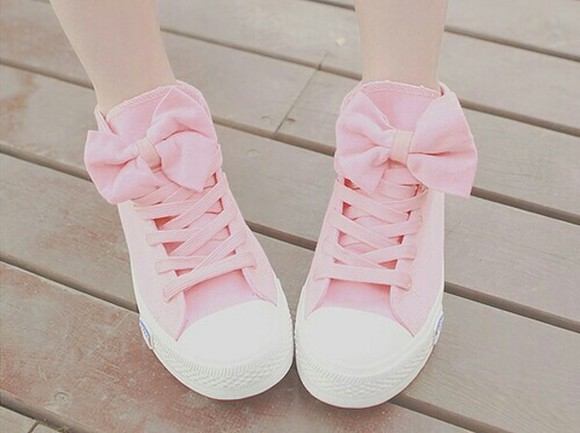 shoes pink cute trainers white japanese japan bow