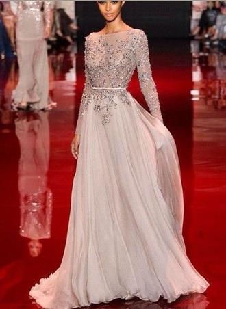 dress beaded lace longsleeve prom dress