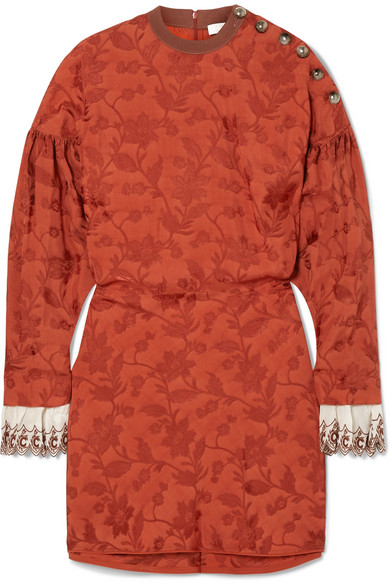 Chloé - Embroidered silk blend-trimmed jacquard mini dress