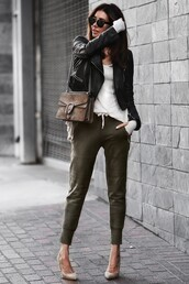 fashionedchic,blogger,jacket,shirt,shoes,bag,jewels,shoulder bag,gucci bag,gucci,high heel pumps,pumps,black leather jacket