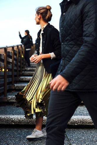le fashion image blogger jacket top skirt