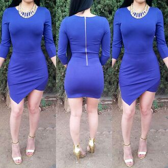 blue dress blue skirt long sleeve dress longsleeve bodycon dress bodycon skirt wrapdress asymmetrical dress