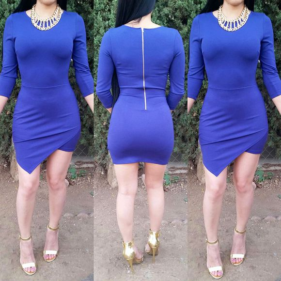 asymmetrical bodycon dress blue dress blue skirt long sleeve dress longsleeve bodycon skirt wrapdress asymmetrical skirt asymmetrical dress pretty dress dresses white navy black bow stripes strapless vintage design bottom