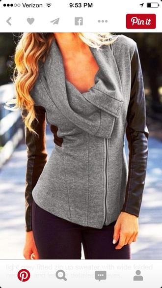coat sweater grey sweater grey coat vest leather jacket leather sleeves black dress black jacket