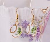 jewels,earrings,dangle earrings,teacup earrings,miniature,teacup,tea set,clover,porcelain,porcelain miniature,dollhouse,shabby chic,jewelry,boho jewelry