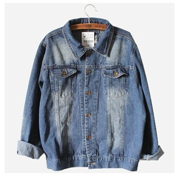 New 2014 oversized denim jacket spring jaqueta jeans casacos femininos women coat denim jacket retro women blue jean jackets