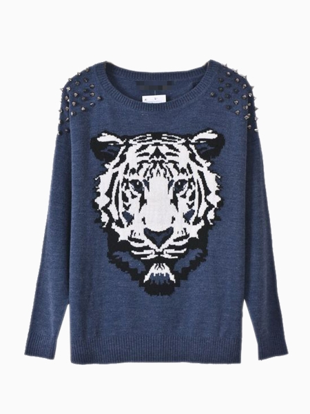 Limited blue sweater with tiger pattern and rivets