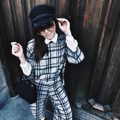 pants,tumblr,tartan,plaid,checkered pants,checkered,printed pants,sunglasses,hat,black hat,fisherman cap,bag,black bag