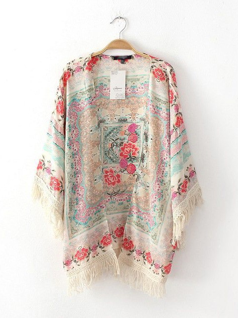 Sleeved printed mixed colors fringed bat sleeve shawl kimono cardigan