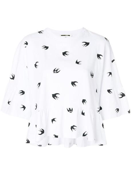 McQ Alexander McQueen t-shirt shirt t-shirt women white cotton print top
