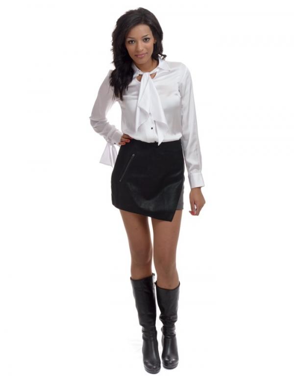 Falda cuero negro delante y tejido en la espalda de Sw Paris | BUYLEVARD