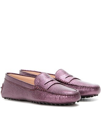 metallic loafers leather purple shoes