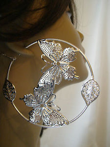 Large 3 5 inch Butterfly in Hoop Earrings Silver Tone Hoops | eBay