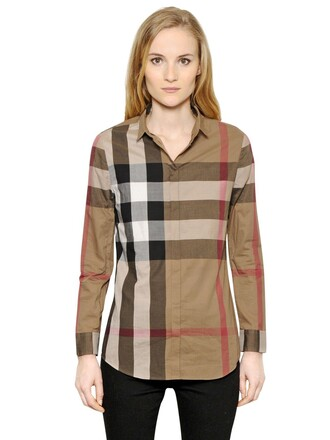 shirt cotton brown taupe top