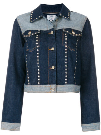 jacket denim jacket denim studded women spandex cotton blue