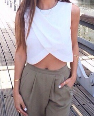 shirt white criss cross crop tops style fashion