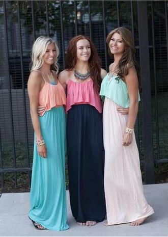 dress maxi dress boho chic cute pastel coral mint navy pink coral dress mint dress summer summer dress spaghetti strap skirt