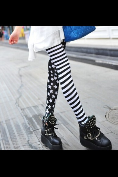 leggings white black & white striped black and white black and white leggings white stars