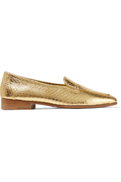 The Row - Adam Metallic Elaphe Loafers - Gold