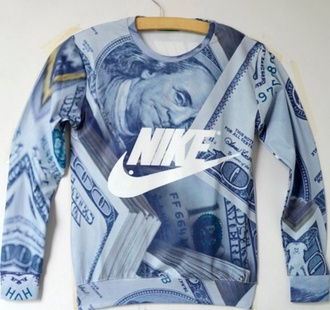 money menswear style grey vintage nike men nike sweater nike jumper vintage sweater black white black and white black and grey black and grey dollar dope wishlist 100 dollar dollar bill 100 sign guys 100 dollar bill blue and grey nike sweater