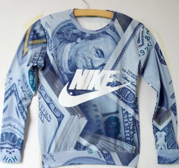 black white black and white money menswear style grey vintage nike men nike sweater nike jumper vintage sweater black and grey black and grey, white dollar