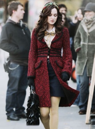 coat red leighton meester gossip girl