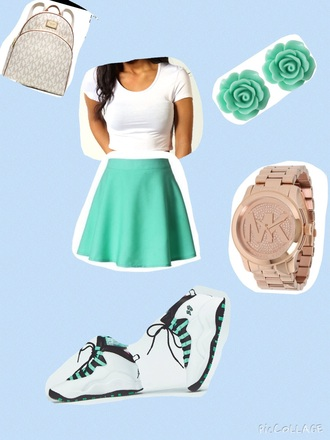 skirt mk backpack mint cute jordans swag michael kors watch shorts shoes